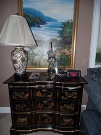 Lovely Chinoiserie chest, Elephant crystal sculpture, nice lamp and original painting by: