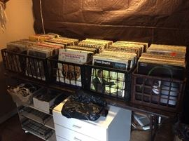 Cases of vintage vinyl including top artist from multiple decades.