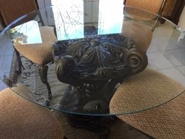Glass & Iron Pedistal Table with Four Chairs