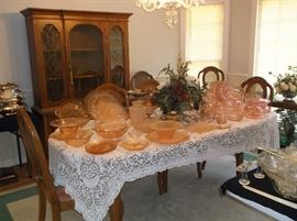 Large collection of pink depression glass