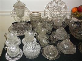 Pressed glass; beautiful round butter dishes