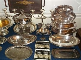 Silver plate chafing dish and casserole dishes