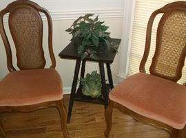 Small center table with two dining chairs