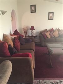 Couches and whole set up including rugs and decor