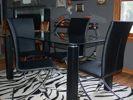Contemporary Black Leather Dining Table and Chairs