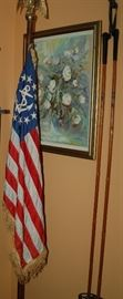 Patriotic American Flag and Vintage Ski Poles