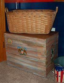 Patriotic Wooden Toy Box Chest