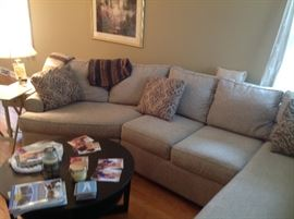 3 pc Walter E Smithe sectional like new, $700 available for pre sale. Call for Appt.