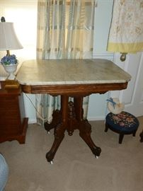 Antique marble-top parlor table