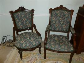 Beautiful victorian chairs..his and hers