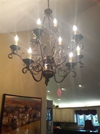 foyer chandelier with lights on
