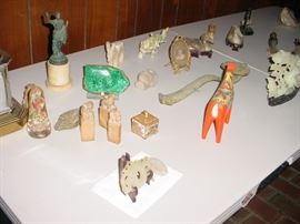 variety of jade, ivory, bone, and gem quality stones