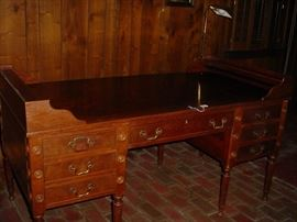 Large 1880's plantation desk, drawers and work space this side, and the other side is just as decorative.