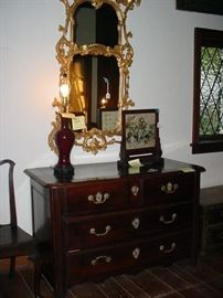 Another antique chest and wall mirror