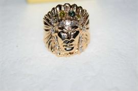 Gold Indian and Diamond Man's Ring, (not kept on site), 15.8 G, 14 K Test, Full Head Dress with Round Brilliant Cut Diamond.  25 CT, Fancy Deep Treated Light Yellow Color Round Diamond .25, 4 Rd Cut Diamonds + Apx .12 CT & More