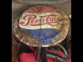 "Lot 3: 1950's 20"" Pepsi Button with handle, Converted to crossing guard implement (Estimated  finish $100-150)"