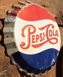 "20"" Pepsi Cap by Stout Manufacturers, Original 1950's Green Backside"