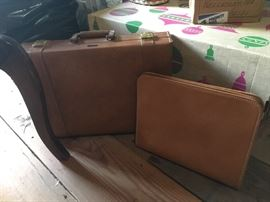 Antique Leather briefcase and luggage