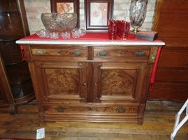 Antique Eastlake Victorian period Black walnut sideboard with Burlewood doors and marble top-circa 1870s