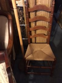 Antique Tall Back Chair with cane seat