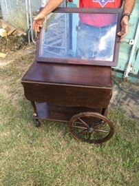 Vintage Wood Tea Cart with removable glass serving tray