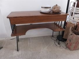 Mid Century Modern entry/sofa table with wrought iron legs and a drawer