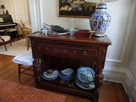 Carved chest and lots of blue and white