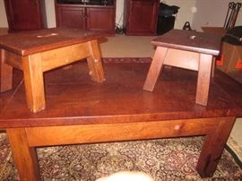 Argentinean tables coffee table, matching foot stools and end tables