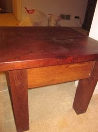 Argentinean end table, matching coffee table and foot stools