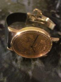1894 Corum Watch, 20 Gold Coin Watch, Cartier Band, Automatic winding