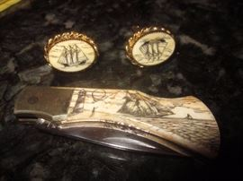 Scrimshaw, Pocket Knife, cuff links
