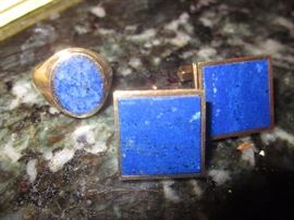 Lapis Cuff links, Lapis ring with gold ring
