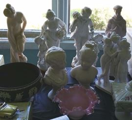 Beautiful figurines in resin, porcelain, and cast stone. Wedgwood footed compote