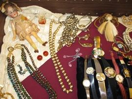 vintage doll, jewelry, watches