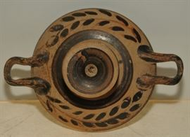 Ancient Greek decorated footed flat dish with raised rim