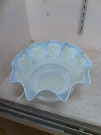 "This Mount Washington Cameo Glass Bowl with ruffled edge is approx. 4 1/2"" H x 9"" D. Soft colors of blue and light green enhance the ruffled edge. This unique bowl will fit in with any type of decor."