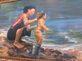 "This Asian oil on canvas painting is signed lower right and rear Sit Linn 1990. (Born 1955 in Myanmar) Sit Linn studied under the old masters: U Pyi Soe Myint, U Hla Han and U Hla Tin Tun. Painting shows a woman lovingly washing her son by the river. Approx. 24"" H x 35"" W canvas, 27"" H x 38 1/2"" W framed."