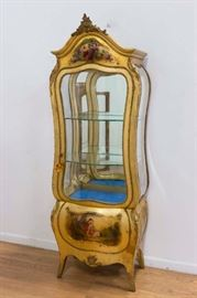 """This Vernis Martin Style Bombe Curio Cabinet with mirror back is perfect to showcase your precious items. Base is painted with a scene depicting lovers. Serpentine, glass shelves and plexi-glass sides. Approx. 71"""" high, 26"""" wide, 15"""" deep."""
