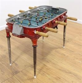 """This Vintage Cast Metal Foosball Table is from a Buenos Aires Cafe. Circa 1950s. Includes 5 wood balls. Approx. 25"""" H x 18"""" W x 33 1/2"""" L."""