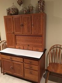 Vintage Hoosier Cabinet, Wooden Kitchen Chairs