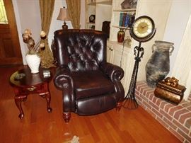 Leather Recliner, Mahogany Lamp Table