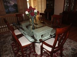 BEVELED GLASS TABLE AND 6 CHAIRS