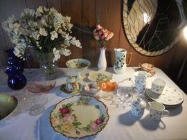 Vintage Hand Painted Plates, Cake Plates, Dessert Set, Vases