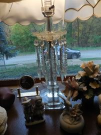 Vintage Czech Prisms Crystal Table Lamp, Original Silk Shade