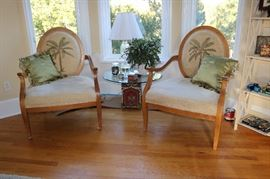 Johnathan Charles Design Spoon Back Arm Chairs with Palms