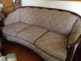 1940's Sofa and Chair with Carved Pecan wood