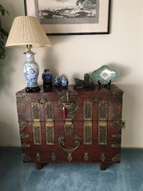 A gorgeous Chinese chest with ornate hardware!