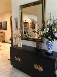 Vintage black lacquered credence with heavy brass door pulls and a vintage wood with jade jewelry chest!