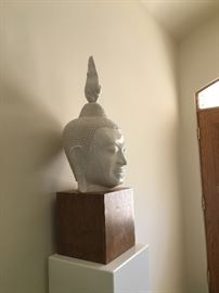 Impressive large buddha head on wood pedestal!