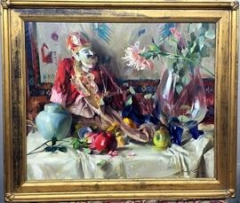"""Quang Ho """"Chinese Clown"""" Origninal Oil Painting, Framed 42"""" W x 36"""" H"""